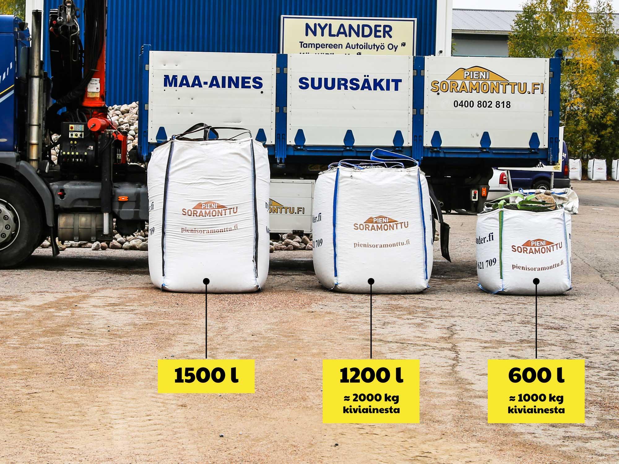 Pieni Soramonttu: Suursäkkien koot ovat 1500, 1200 ja 600 litraa.